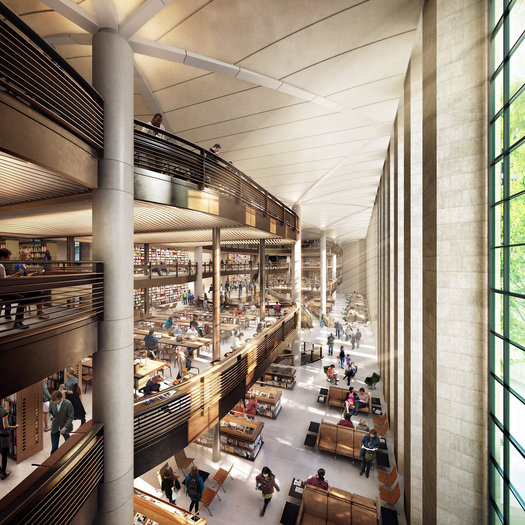Renderings of Norman Foster's proposed renovations of the renovated New York Public Library.