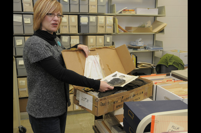 "via WSJ: ""Ransom Center archivist Amy Armstrong is cataloging the collection of screenwriter and director Paul Schrader, including the costume in this box, worn by Willem Dafoe in the 1992 movie 'Light Sleeper.'"""