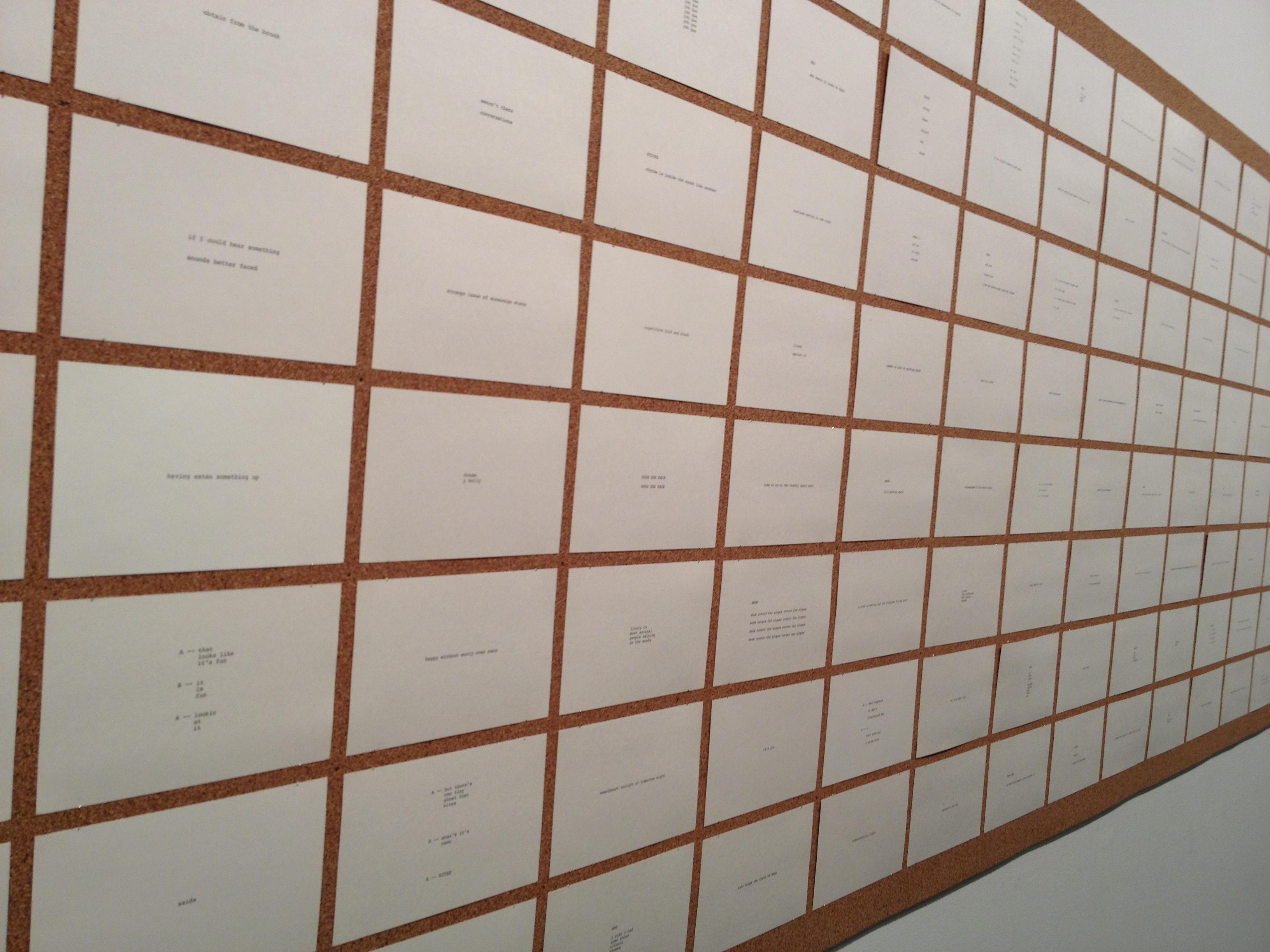 Robert Grenier's wall of poetic building blocks