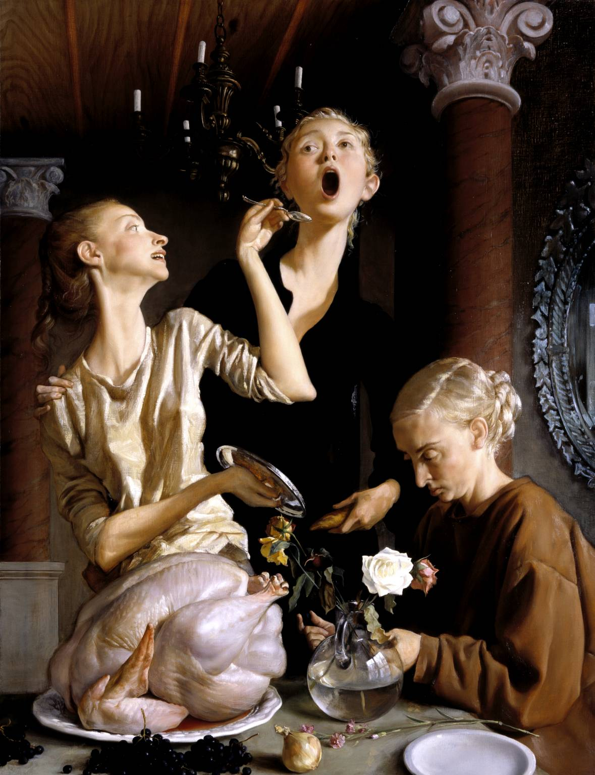 John Currin, Thanksgiving, 2003. Our perverse Norman Rockwell.