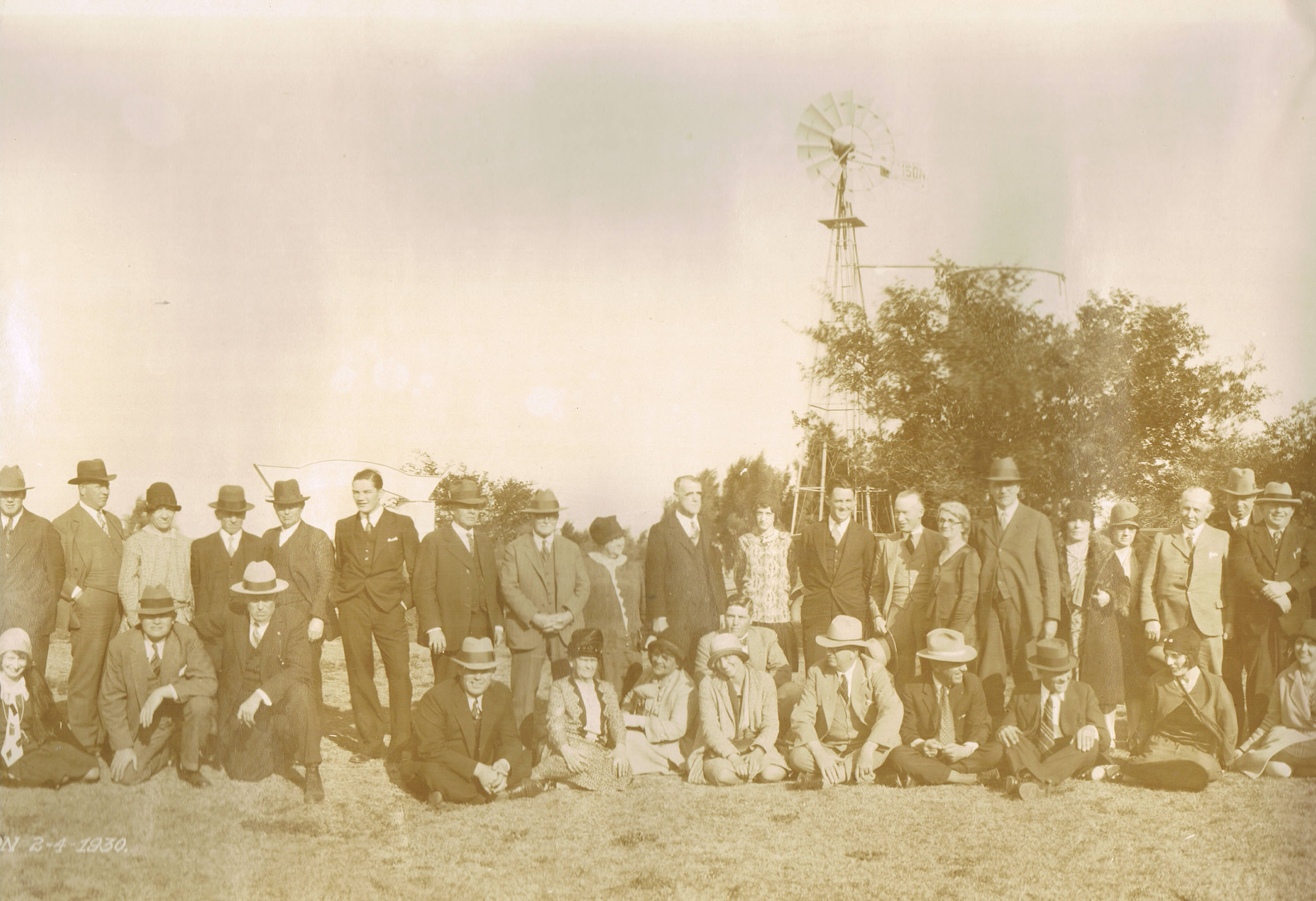 On the Myers/Crider/Wilson land in Texas: my grandfather in the back row, sixth from the left -- the dapper gentleman in the three-piece suit, no hat.