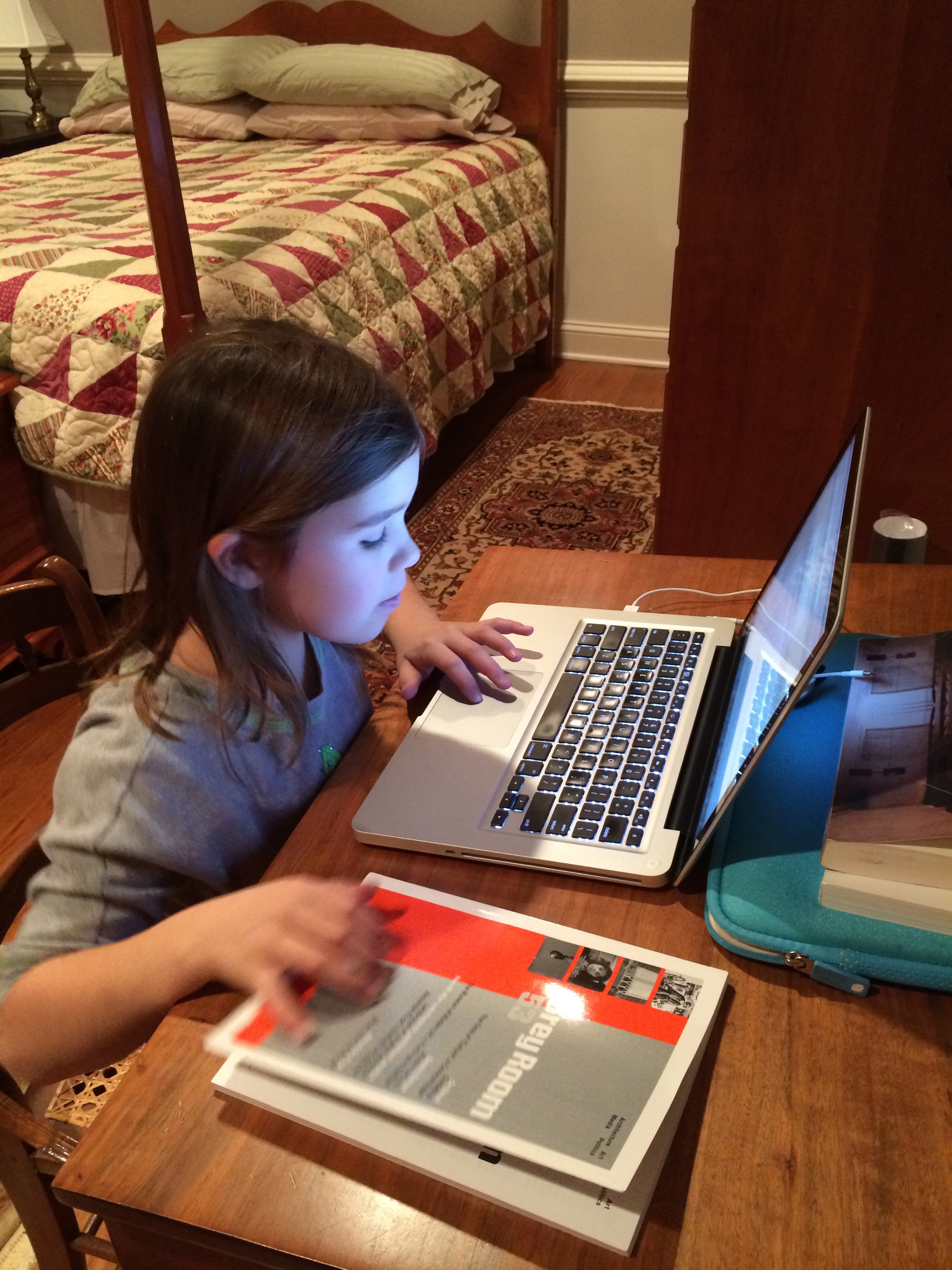 My niece doing data entry for a bibliography. She learned how to use Zotero!