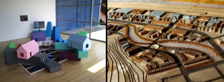 """MRVDV / The Why Factory's """"Vertical Village"""" @ Total Museum of Contemporary Art, Seoul, 2012; Model of Paju Bookcity, Photo by Yeong Ran Kim"""