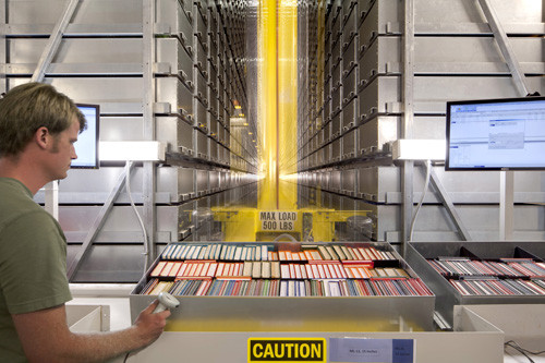Book Robots @ Mansueto Library, University of Chicago. Photo by Tom Rossiter, via Design Observer